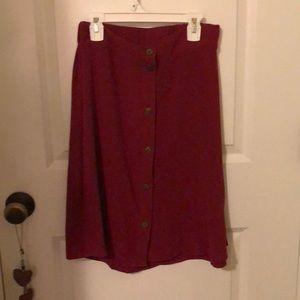 Maroon Button Down Skirt